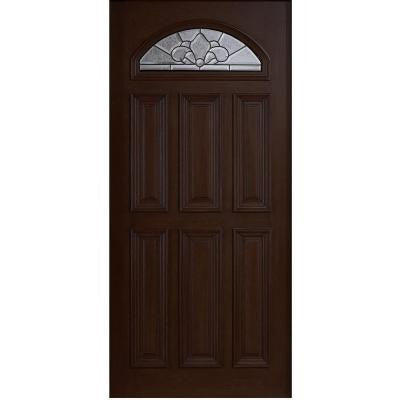 36 in. x 80 in. Mahogany Type Fan Lite Glass Prefinished Espresso Beveled Patina Solid Wood Front Door Slab