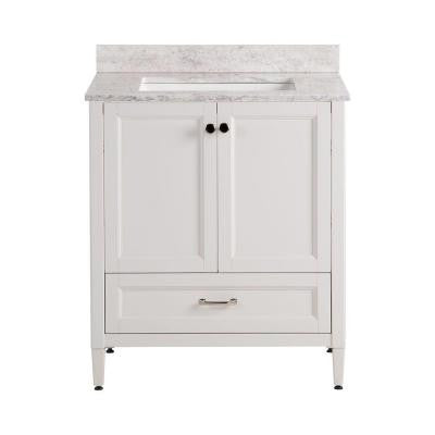 Claxby 31 in. W x 22 in. D x 38.3 in. H Vanity in Cream with Stone Effects Vanity Top in Winter Mist with White Basin