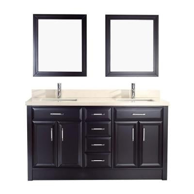 Calais 63 in. Vanity in Espresso with Marble Vanity Top in Beige and Mirror