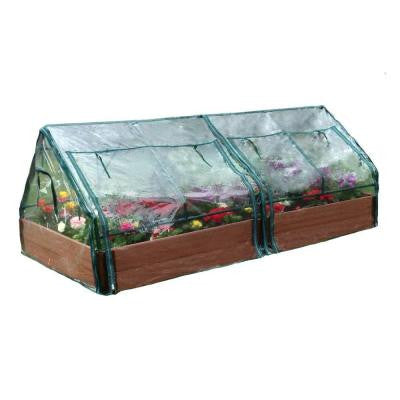 Two Inch Series 4 ft. x 8 ft. x 11 in. Composite Raised Garden Bed Kit with 2 Greenhouses