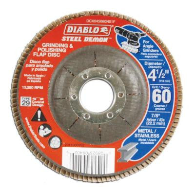 4-1/2 in. 60-Grit Steel Demon Grinding and Polishing Flap Disc with Type 29 Conical Design