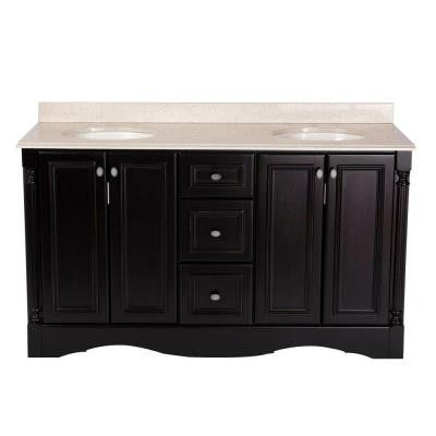Valencia 60 in. Vanity in Antique Black with Colorpoint Vanity Top in Maui