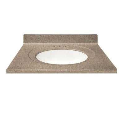 49 in. Cultured Granite Vanity Top in Brown Sugar Color with Integral Backsplash and White Bowl