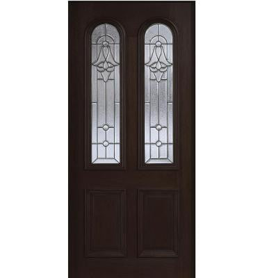 36 in. x 80 in. Mahogany Type Twin Arch Glass Prefinished Espresso Beveled Patina Solid Wood Front Door Slab