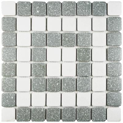 Crystalline Market Square Grey 11-3/4 in. x 11-3/4 in. x 5 mm Porcelain Mosaic Tile