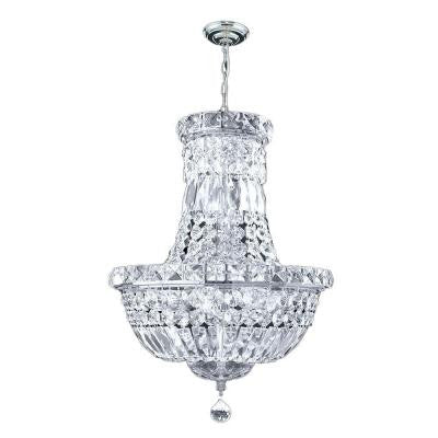 Empire Collection 6-Light Chrome Chandelier with Clear Crystal