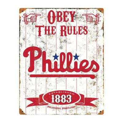 14.5 in. H x 11.5 in. D Heavy Duty Steel Philadelphia Phillies Embossed Metal Sign Wall Art