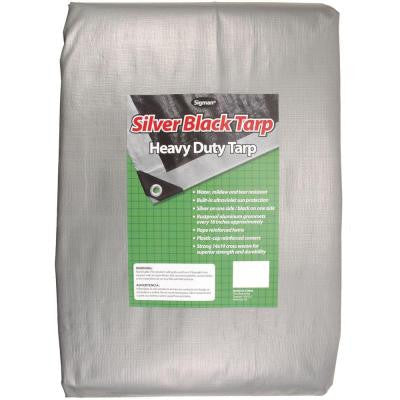 10 ft. x 12 ft. Silver Black Heavy Duty Tarp