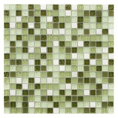 Tessera Mini Emerald Isle 11-3/4 in. x 11-3/4 in. x 8 mm Glass and Stone Mosaic Wall Tile