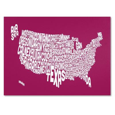 16 in. x 24 in. USA States Text Map - Raspberry Canvas Art