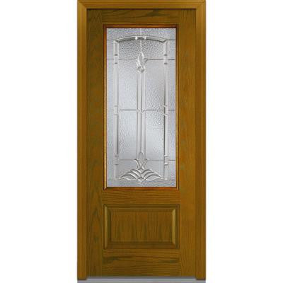 36 in. x 80 in. Bristol Decorative Glass 3/4 Lite 1-Panel Finished Oak Fiberglass Prehung Front Door