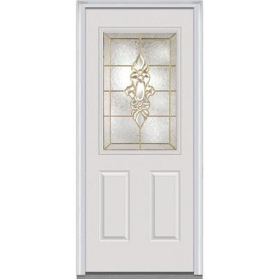 32 in. x 80 in. Heirloom Master Decorative Glass 1/2 Lite 2-Panel Primed White Fiberglass Smooth Prehung Front Door
