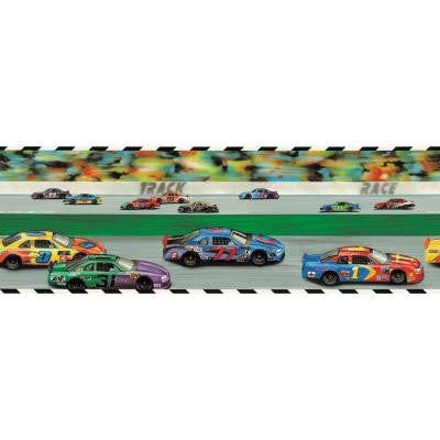 9 in. x 15 ft. Brightly Colored Race Track Border