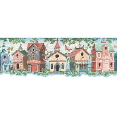 7.25 in. x 15 ft. Blue Pastel Birdhouse Village Border