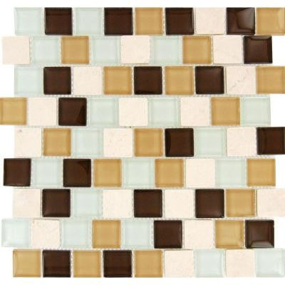 Desert Mirage 1.25 in. x 1.25 in. x 8 mm Glass Stone Mesh-Mounted Mosaic Tile