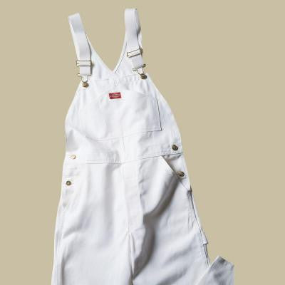 Relaxed Fit 38-32 White Painters Bib Overall