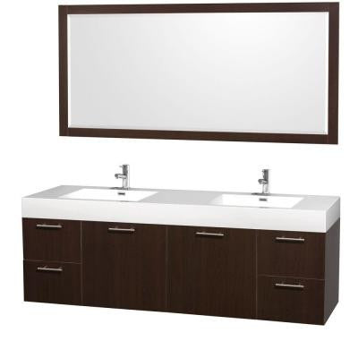 Amare 72 in. Double Vanity in Espresso with Acrylic-Resin Vanity Top in White and Integrated Sink