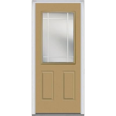 32 in. x 80 in. Classic Clear Glass PIM 1/2 Lite 2-Panel Painted Majestic Steel Prehung Front Door