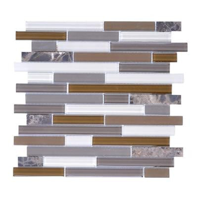 Upscale Designs Mesh-Mounted Glass and Stone Mosaic Wall Tile - 3 in. x 12 in. Tile Sample