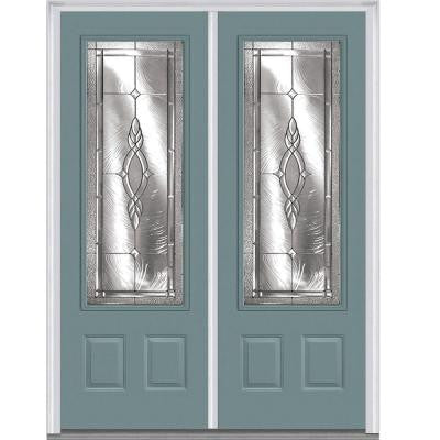 72 in. x 96 in. Brentwood Decorative Glass 3/4-Lite Painted Fiberglass Smooth Double Prehung Front Door