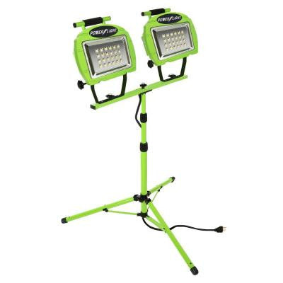 High Intensity Green 24-LED Twin Tripod Work Light with 5 ft. Power Cord