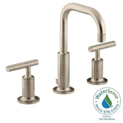 Purist 8 in. Widespread 2-Handle Low-Arc Bathroom Faucet in Vibrant Brushed Bronze with Low Gooseneck Spout