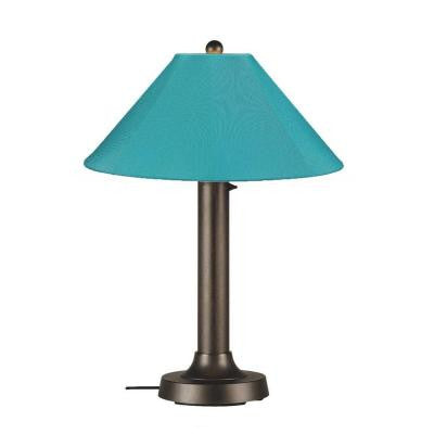 Catalina 34 in. Outdoor Bronze Table Lamp with Aruba Shade