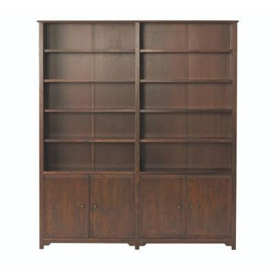 Oxford 5-Shelf Double Open Bookcase in Chestnut