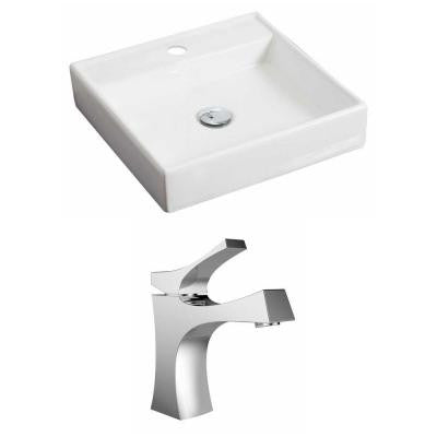 Square Vessel Sink Set in White with Single Hole cUPC Faucet