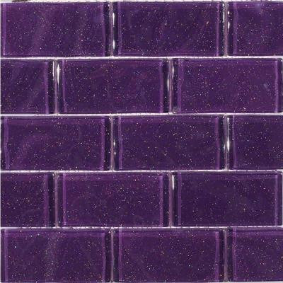 Glitter Lavender 11-1/2 in. x 11-3/4 in. x 11 mm Glass Mosaic Tile