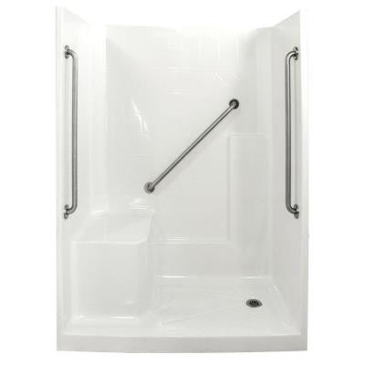 Standard Plus 36 33 in. x 60 in. x 77 in. Low Threshold Shower Kit in White with Left Side Seat Position