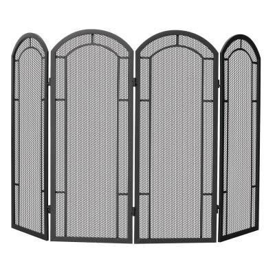 Black Wrought Iron 4-Panel Fireplace Screen