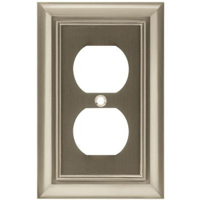 Architectural 1 Duplex Outlet Plate - Satin Nickel