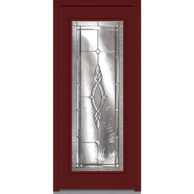 32 in. x 80 in. Brentwood Decorative Glass Full Lite Painted Fiberglass Smooth Prehung Front Door