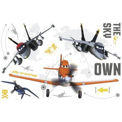 5 in. x 19 in. Planes Own The Sky Peel and Stick Giant Wall Decals