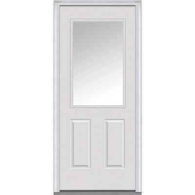 36 in. x 80 in. Classic Clear Glass 1/2 Lite 2-Panel Primed White Fiberglass Smooth Prehung Front Door