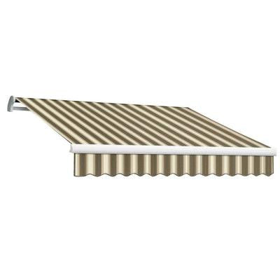 12 ft. MAUI EX Model Left Motor Retractable Awning (120 in. Projection) in Brown and Tan Multi Stripe