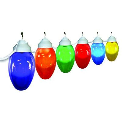6-Light Outdoor Holiday String Light Set of Assorted Color and White Fixturing