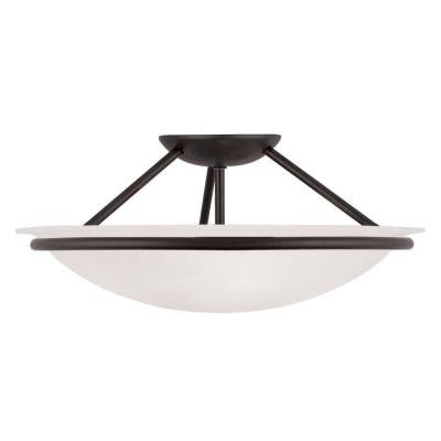 Providence 3-Light Ceiling Black Incandescent Semi-Flush Mount