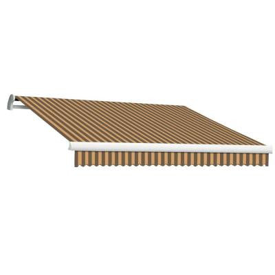 10 ft. MAUI EX Model Left Motor Retractable Awning (96 in. Projection) in Brown and Tan Stripe