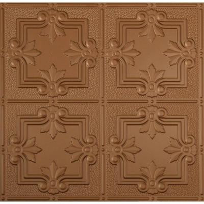 Dimensions 2 ft. x 2 ft. Aged Copper Tin Ceiling Tile for Refacing in T-Grid Systems
