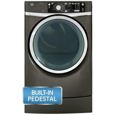 8.3 cu. ft. RightHeight Front Load Gas Dryer with Steam in Metallic Carbon, Pedestal Included