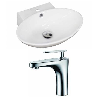 Oval Vessel Sink Set in White with Single Hole cUPC Faucet