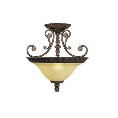 3-Light Burnished Gold Semi Flush Mount with Florentine Scavo Glass
