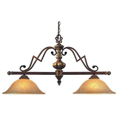 2-Light Belcaro Walnut Island Light