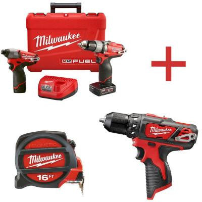 M12 FUEL 12-Volt Lithium-Ion Brushless Cordless 1/2 in. Drill/Impact Kit with M12 3/8 in. Cordless Drill and 16 ft. Tape