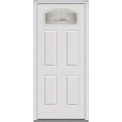 36 in. x 80 in. Master Nouveau Decorative Glass 1/4 Lite 4-Panel Primed White Fiberglass Smooth Prehung Front Door