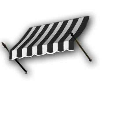 30 ft. New Orleans Awning (44 in. H x 24 in. D) in Black / White Stripe