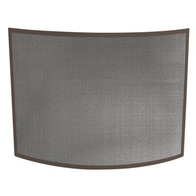 Curved Bronze Single-Panel Fireplace Screen