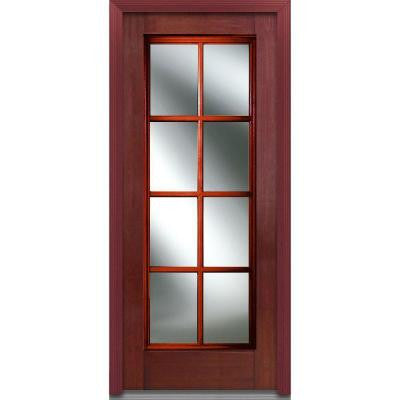 32 in. x 80 in. Simulated Divided Lite Clear Glass Full Lite Finished Mahogany Fiberglass Prehung Front Door